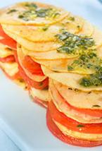 Milhojas de manzana y tomate