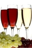 Uvas de Nochevieja y champagne