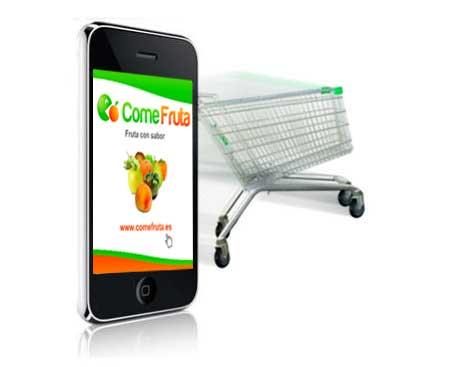 Comercio electrónico alimentación en el móvil comefruta