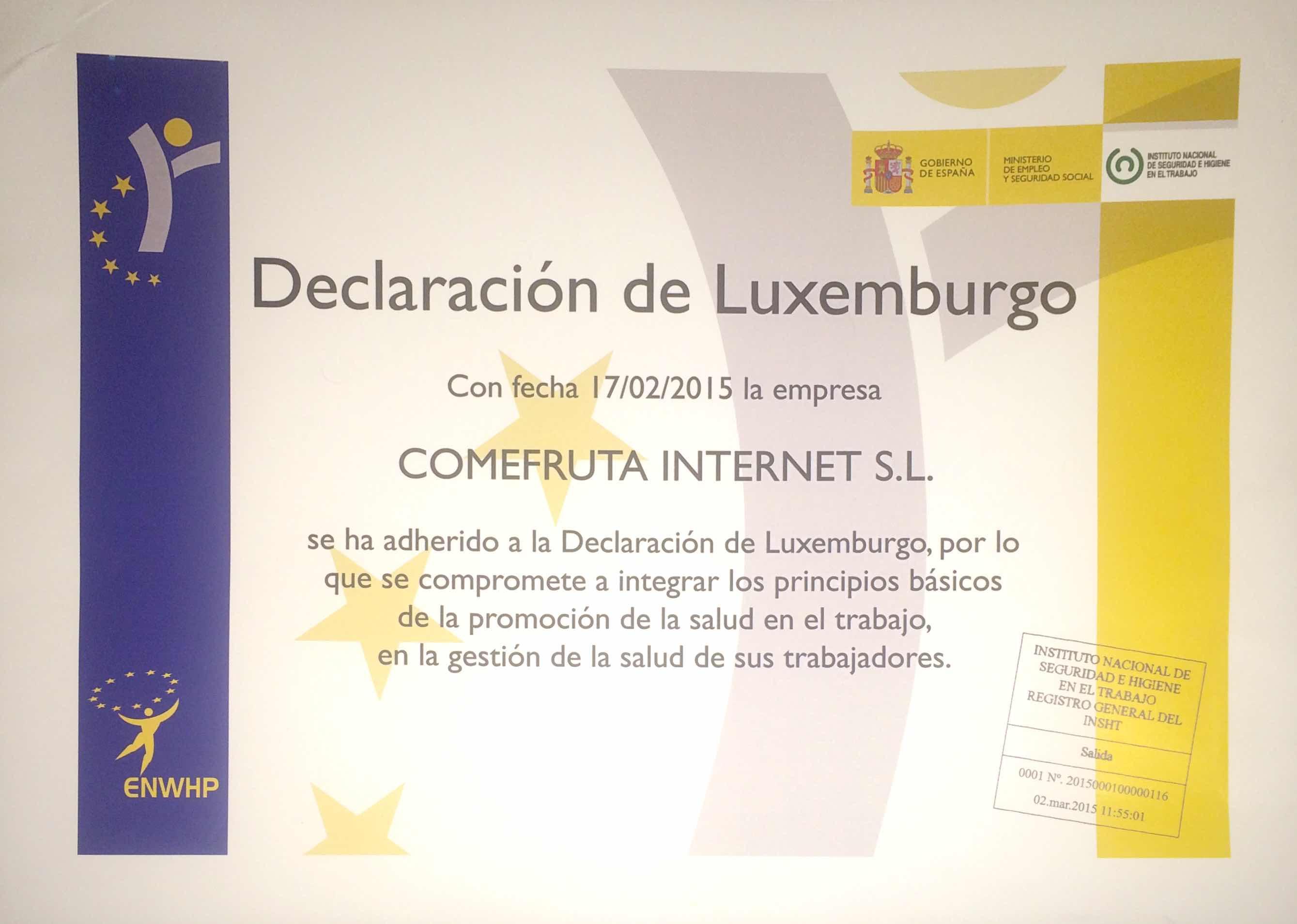Declaración de Luxemburgo para la promoción de la salud en el trabajo