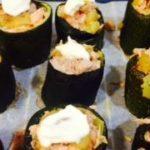 calabacines rellenos de salmón con queso para gratinar