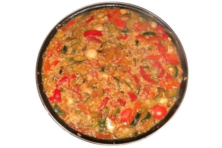 caja arroz de verduras comefruta