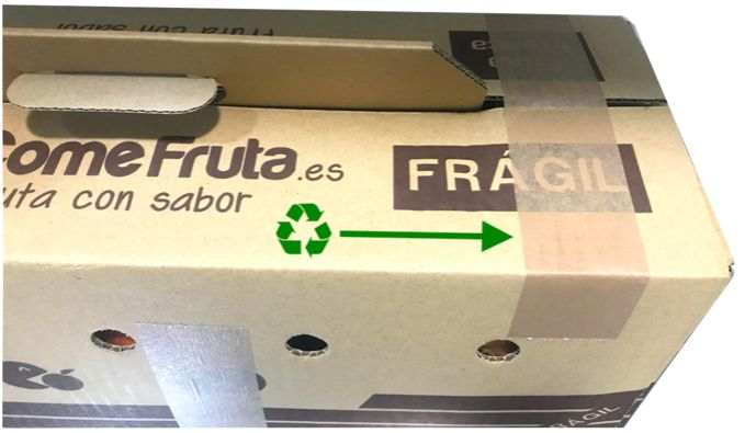 caja cartón comefruta cinta adhesiva reciclaje