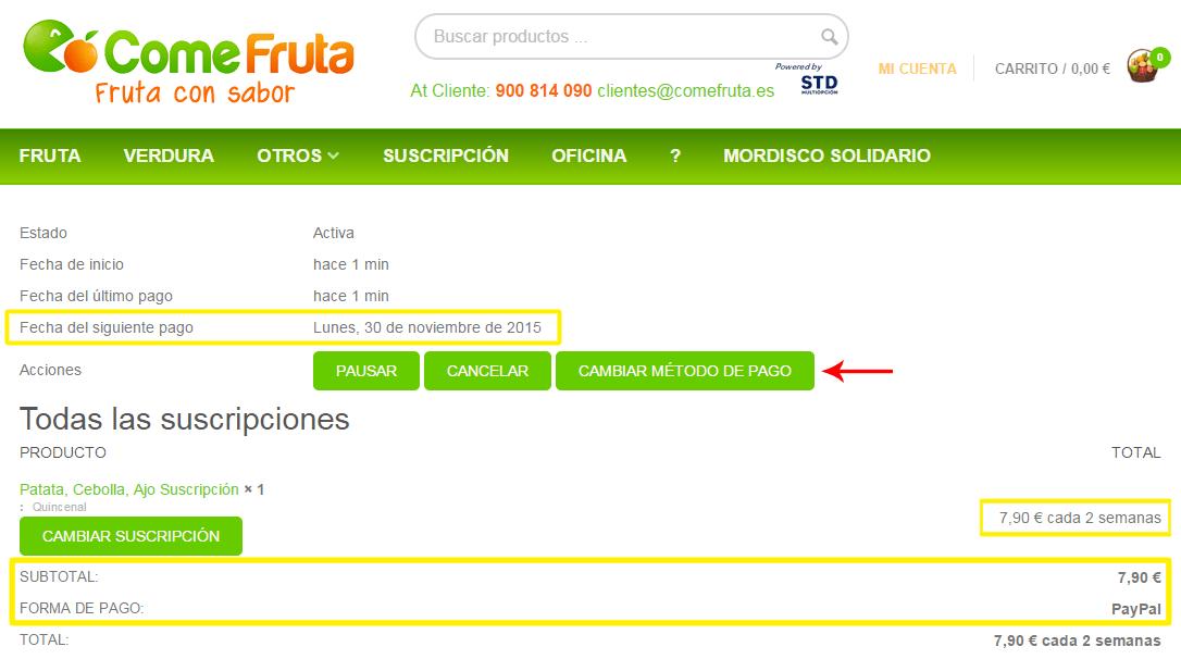 """Cambiar método de pago de una suscripción desde """"Mi Cuenta"""""""