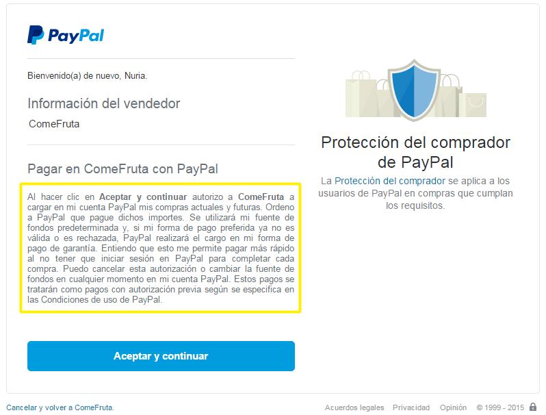 Pago de una suscripción con PayPal