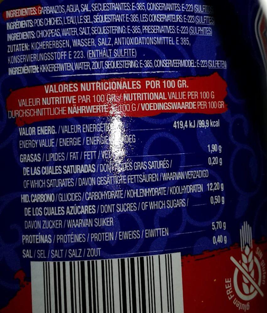 garbanzos natural etiqueta valores nutricionales