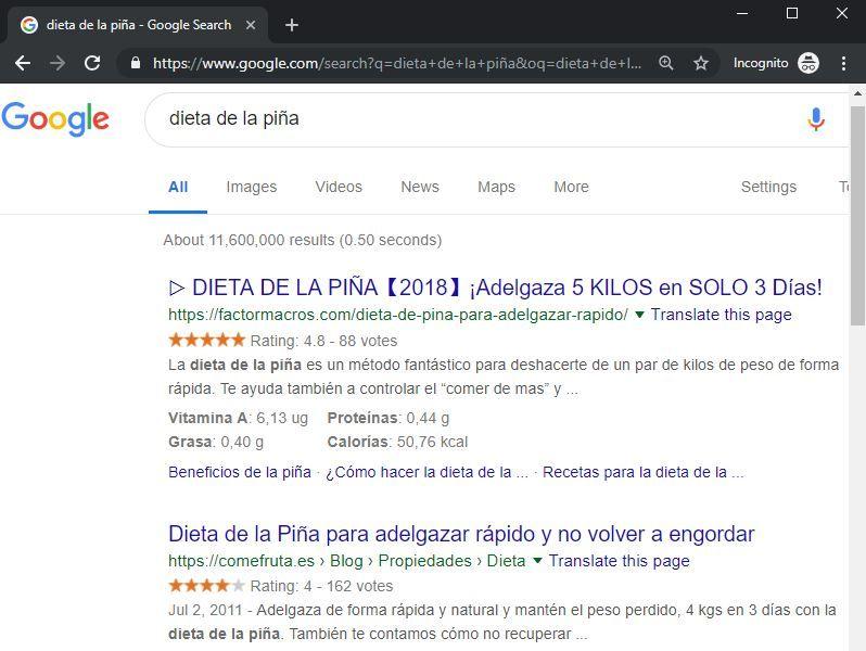 google dieta piña