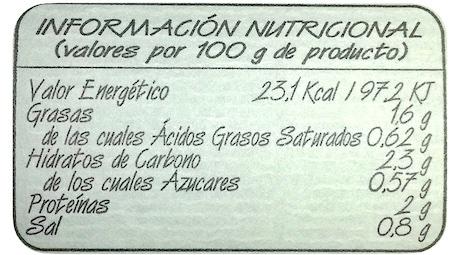 valores nutricionales caldo de pollo