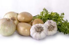 patata, cebolla y ajo