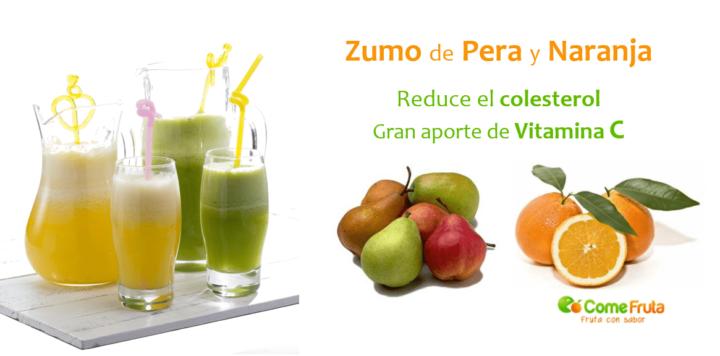 zumos y batidos con frutas. pera y naranja