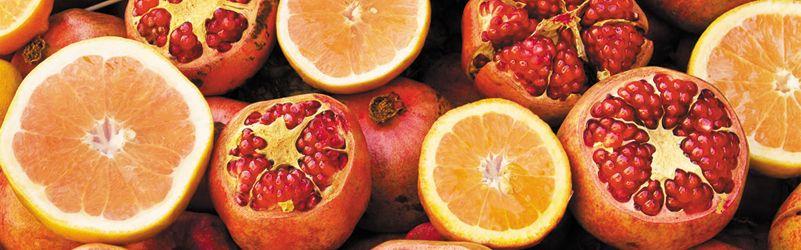 zumo de granada y naranja